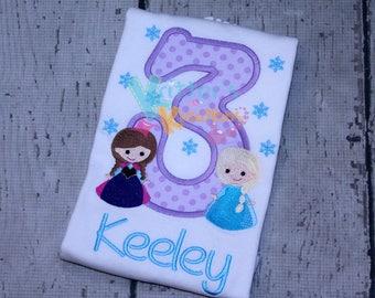 Custom Anna Elsa - Frozen Inspired Birthday Embroidered Applique Shirt