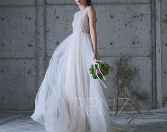 2017 Off White Tulle Bridesmaid Dress with Lace, Champagne A Line Wedding Dress, Backless Puffy Dress,Train Evening Gown Floor Length(LW192)