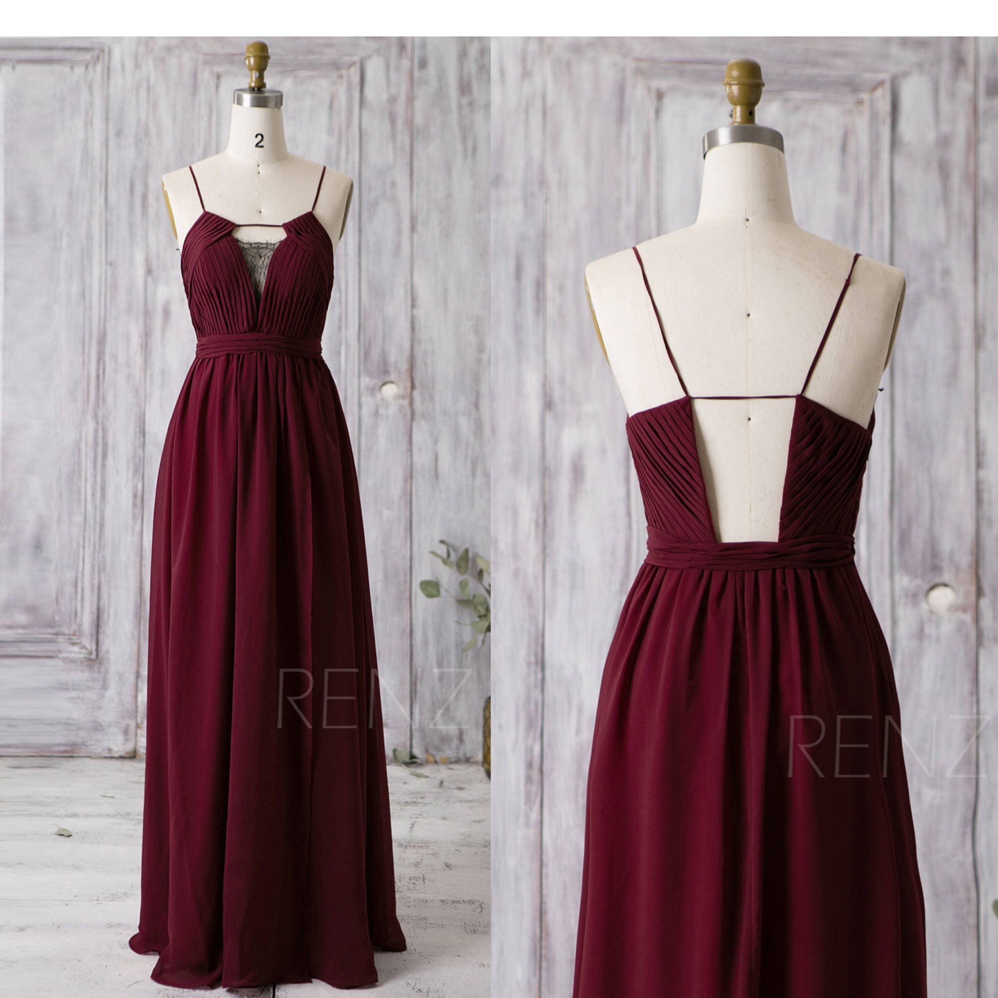 Wine long chiffon bridesmaid dress black lace v neck wedding zoom ombrellifo Gallery