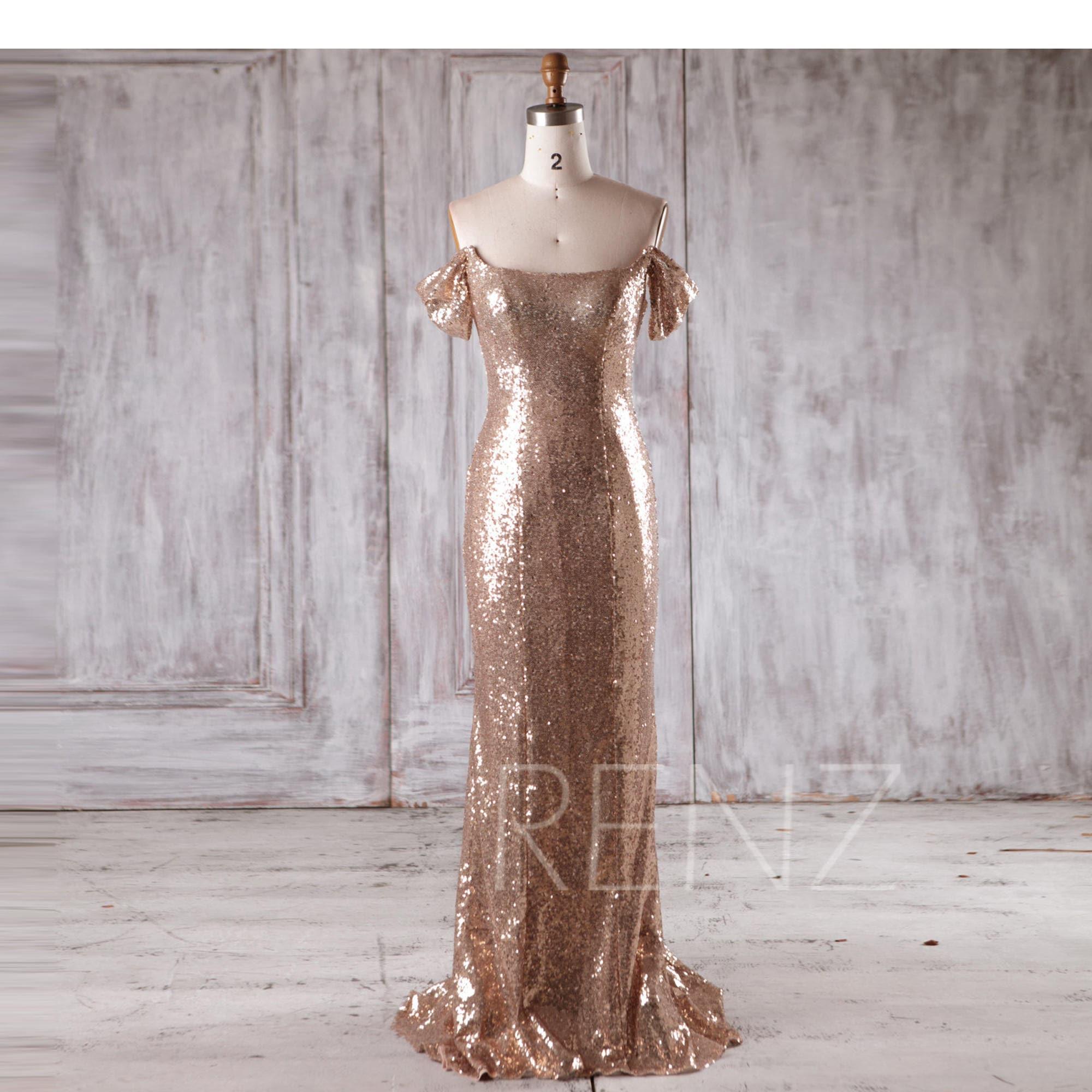 Bridesmaid dress gold sequin draped sleeve wedding dressoff zoom ombrellifo Images