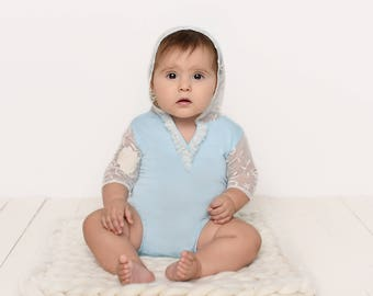 Blue Sitter Romper with Hoodie, Girl Lace Photo Prop Outfit, MADE TO ORDER