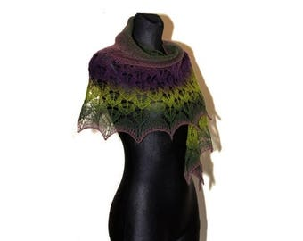 Christmas in July Sale Hand Knit Lace Shawl, Green and Purple Knitted Shawl, Lace Shawl in Shades of Green and Purple, Crescent-shaped Scarf