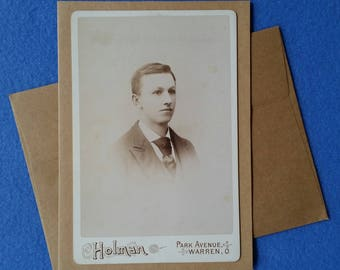 Antique Photo Blank Card - recycled kraft paper greeting card with upcycled vintage sepia tone portrait