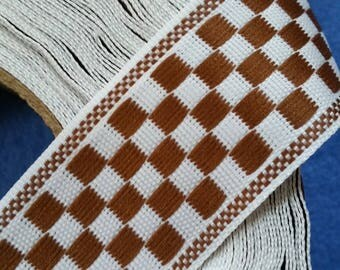 Brown and White Checkerboard Ribbon, 2 yards of vintage ribbon, brown checkerboard