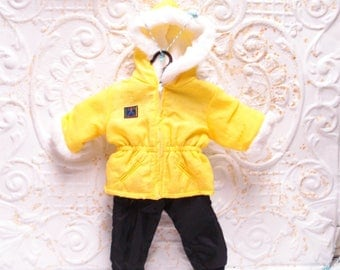 American Girl Today Winter Coat SNOW PANTS Pleasant Co Tubing Yellow Outfit