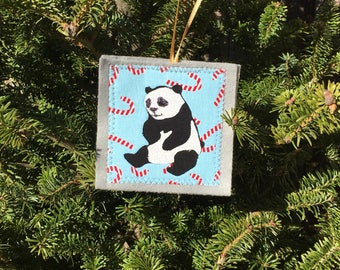 Ornament , Panda Ornament,  handmade sewn fabric ornament, 4x4 inches, hangs on satin ribbon