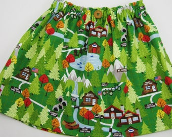 Girls Camping Skirt - Girls Camp Out Party Skirt or Dress - Camping Theme Birthday - Girls First Birthday - Camp Out Slumber Party
