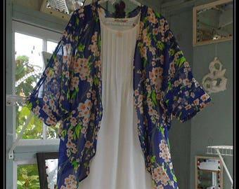 Free Domestic Shipping-LYDIA-One size,Boho Robe,Chiffon,Shawl,Boho Kimono,Bed Jacket, 3/4 length sleeve,floral print.Nightgown not included.