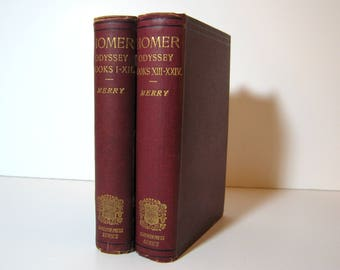 Homer Odyssey in Greek, Books I - XXIV, 2 Volumes with Notes , Edited by W W Merry, Oxford University Clarendon Press, Books with Marginalia