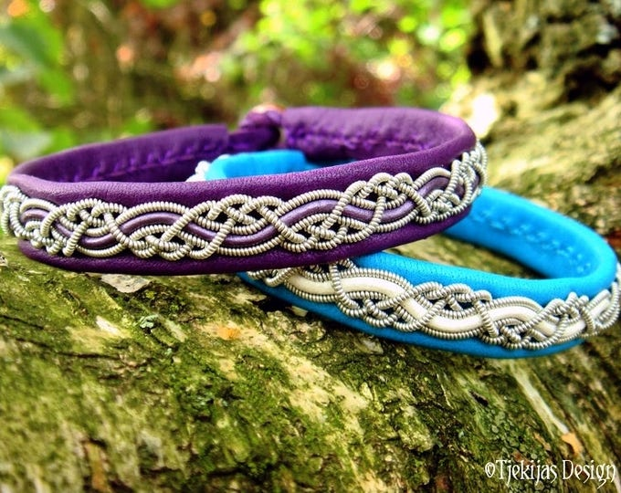 Vikings and Shieldmaidens Leather Bracelet HUGINN in Purple Reindeer and Pewter Braid - Handmade Nordic Sami Jewelry