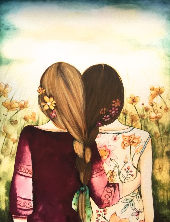 blondish and brown sisters best friend art print