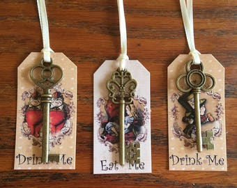 Alice in Wonderland 10 Eat Me, Drink Me party favors with bronze keys and silk ribbon