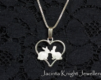 Sterling silver bunny love pendant