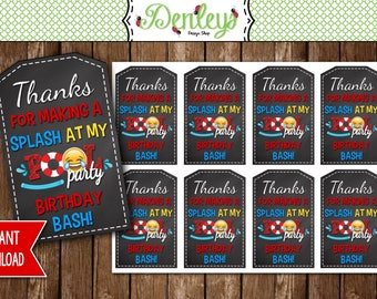 INSTANT DOWNLOAD: Emoji Pool Party Thank You Tags, Emoji Pool Party Favor Tags
