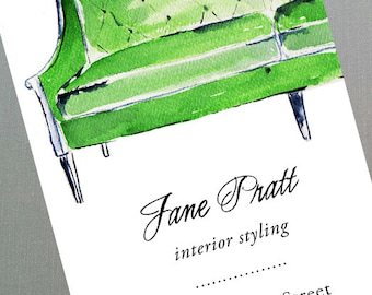 Interior Design Business Card with Green Regency Sofa, Set of 50
