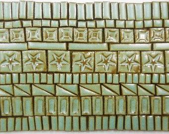 180+ Handmade Ceramic Mosaic Tile Pieces Ceramic Tile Stoneware Rustic Turquoise Stone Craft Tile Assortment #5