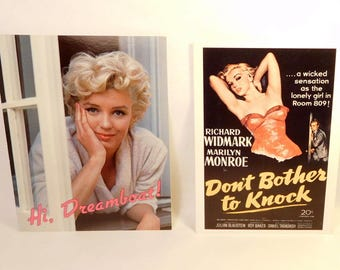 """MARILYN MONROE Cards - """"Don't Bother to Knock"""" - Photo - U.S.A. Litho - LOT of 2"""
