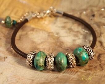 CIJ Brown Leather Jasper Bracelet, Jasper and Leather Bracelet,  Boho Jewelry, Southwestern Jewelry, CKDesigns.US