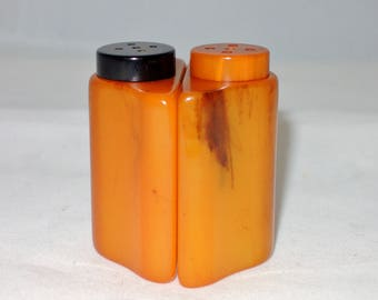 Tiny Butterscotch Marbled Bakelite Salt and Pepper Shakers