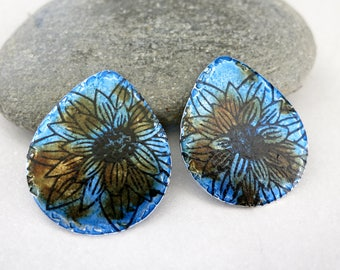Teardrop Earring Charms, 18x17mm, 20G Aluminum, Hand Painted Alcohol Ink, One of a Kind, Ready to Ship