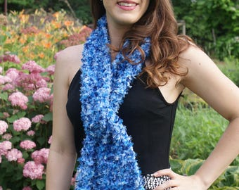 Fluffy scarf shades of Blues super soft, Blue Fashion Scarf