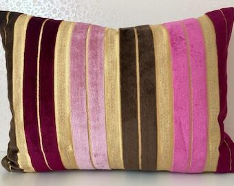 STRIPE velvet pillow PINK gold stripe cushion Chocolate velvet cushion cover Designer Guild MoGirl DESIGNS Pale Pink stripe chenille pillow