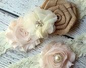 SALE IVORY Burlap Bridal Garter Set - Keepsake & Toss Garters - Burlap Chiffon Flower Pearl Lace Garters - Rustic Country Wedding - Garder
