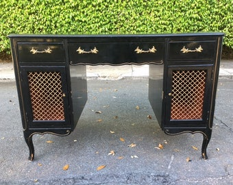 CHINOISERIE CHICKADEE / Black Lacquer French Desk / Chicken Wire Front Door Panels / Red Interior / Gold Hardware / Hollywood Regency