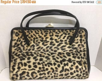 Now On Sale MOD BEATNIK Vintage 1960's Cat Faux Fur Handbag - Rockabilly Pin Up Glamour Girl Style Leopard Cheetah Print Large Purse