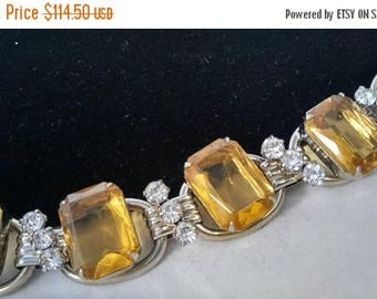 Now On Sale Juliana 5 Link Rhinestone Bracelet, D & E DeLizza Elster High End Hard To Rind Rare Golden Yellow Jewelry 1960's