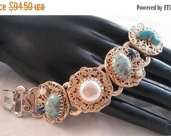 ON SALE Vintage Selro Style Blue Rhinestone Faux Pearl Chunky Bracelet - Retro 1950's 1960's - High End Hard To Find Jewelry