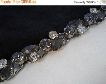 ON SALE Juliana 5 Link D & E Vintage Chunky Silver Gray Bracelet, 1960's Collectible High End Jewelry