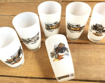 Vintage CAR Glasses - Ford Chevy Packard Studebaker Cadillac - Water Glasses - Home Bar Glasses - Retro Barware Cocktail Glasses Antique Car