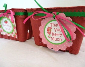 Strawberry Favor Boxes Summer Party Favors Birthday Favors Barbecue 4th of July Favors Strawberry Shortcake Decorations Strawberry Baskets