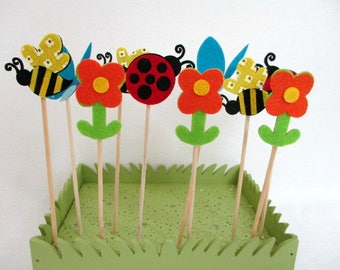 Butterfly Cupcake Toppers Cake Topper Bee Birthday Favors Flower Party Favors Baby Shower Decorations Baby Shower Cake Decorating Ladybug
