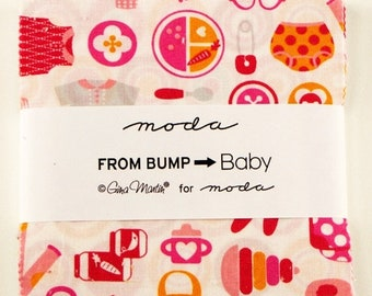 "15% off thru Mar.19th Moda  Charm pack FROM BUMP to BABY 42 5"" squares from Gina Martin cotton fabric floral  girl boy"