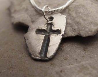 Gothic Christian Sterling Silver Cross Pendant Necklace Handmade  Jewelry for Men or Women