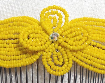 Dandelion Yellow Crystal Fascinator - French Beaded Barrette Clasp Clip Hair Comb - Pearl Collection CLO