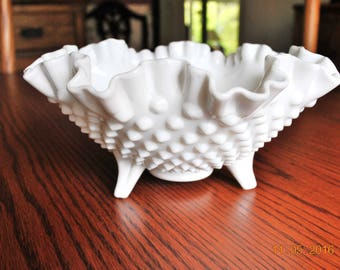 """Fenton Milk Glass Hobnail 3 Toed 8"""" Crimped and Ruffled Round Bowl"""
