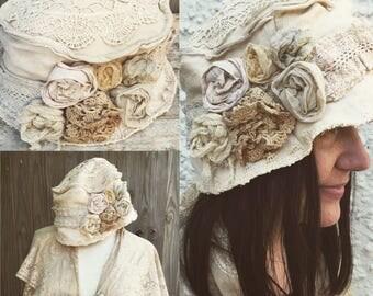 Vintage lace hat - cloche hat-wedding Hat- fairy hat- vintage hat-flower hat-mori - boho hat- lagenlook- upcycled- botanical dyed-lavender