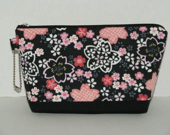 "Large Padded Zipper Pouch/Pencil Case/Cosmetic Case with Pocket Made with Japanese Cotton Kimono Fabric ""Sakura"""
