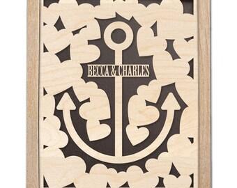 3D Wood Wedding Guest Book Alternative - Anchor Wedding Guestbook - Wooden Guest Book - Peachwik - 25 Signature