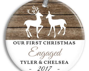 Our First Christmas Engaged Ornament - Deer - Personalized Porcelain Ornament - Engagement - Christmas Tree Ornament - orn0458 - Rustic Wood