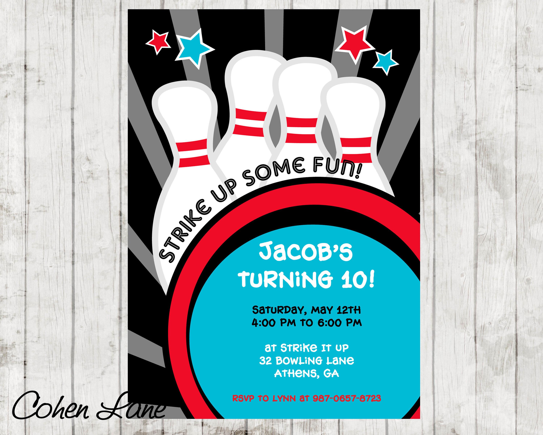bowling-party-einladung. bowling-einladung. bowling, Einladungen