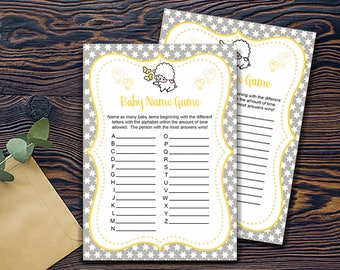 Little Lamb Shower Games- Alphabet Name Game-DIGITAL INVITATION-Printable Invite Card - Baby Lamb Shower Card - Grey Yellow White Stars