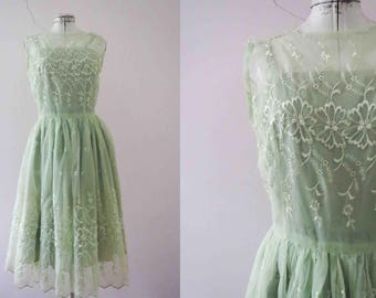 Vintage 50s Lime Green Party Prom Dress Small