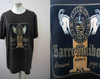 Double Goat German Beer Label T shirt M-L Black