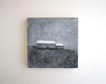 Winter Barn Painting - 6 x 6