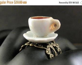 BACK to SCHOOL SALE Coffee Cup Ring. Diner Coffee. White Teacup Ring with Resin Coffee Fill. Bronze Adjustable Ring. Handmade Jewelry.