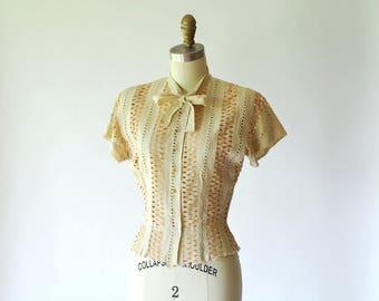 vintage 1940s blouse / 40s linen eyelet blouse / size xs small